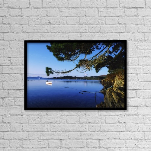 "Printscapes Wall Art: 18"" x 12"" Canvas Print With Black Frame - Co Cork, Ahakista Harbour by The Irish Image Collection"