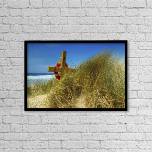 "Printscapes Wall Art: 18"" x 12"" Canvas Print With Black Frame - Co Down, Ireland; Lifebelt by The Irish Image Collection"