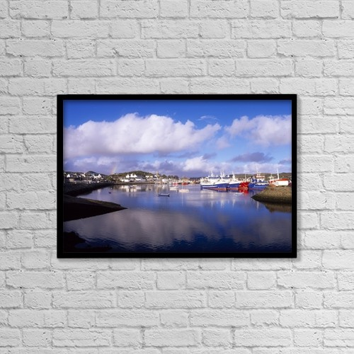 """Printscapes Wall Art: 18"""" x 12"""" Canvas Print With Black Frame - Killybegs, Co Donegal, Ireland by The Irish Image Collection"""