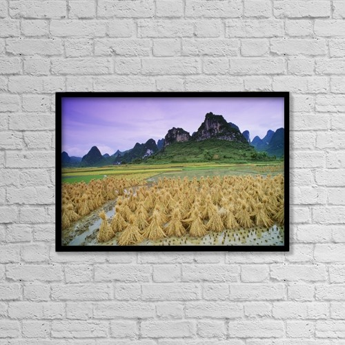 "Printscapes Wall Art: 18"" x 12"" Canvas Print With Black Frame - Rice, Yangshuo, Guangxi, China by Bilderbuch"