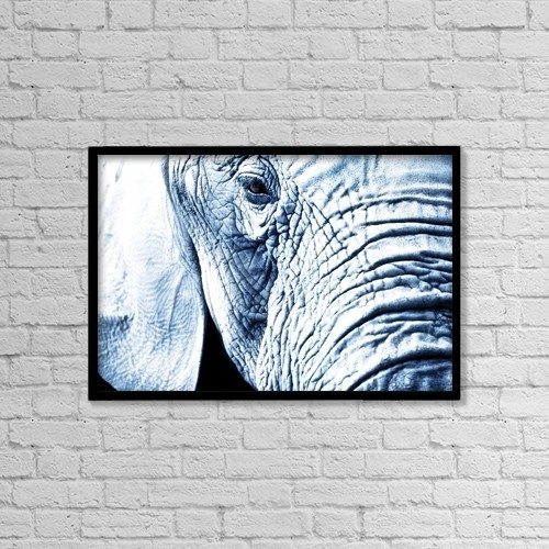 """Printscapes Wall Art: 18"""" x 12"""" Canvas Print With Black Frame - Close Up Of An Elephant's Face by Chris and Kate Knorr"""