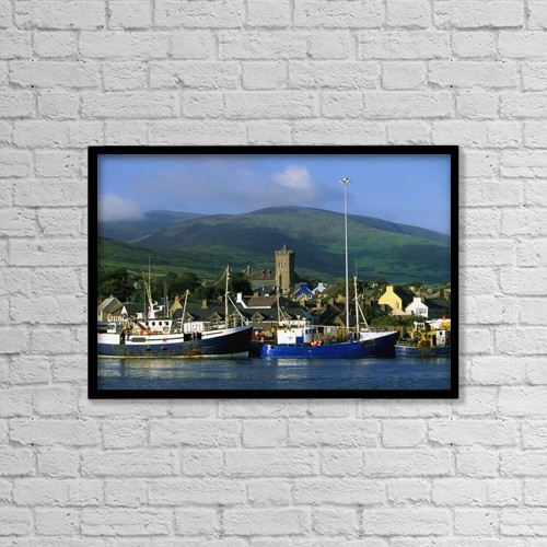 "Printscapes Wall Art: 18"" x 12"" Canvas Print With Black Frame - Co Kerry, Dingle Harbour by The Irish Image Collection"