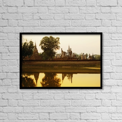 "Printscapes Wall Art: 18"" x 12"" Canvas Print With Black Frame - Sukhothai Historical Park In Thailand by Bilderbuch"