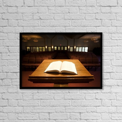 """Printscapes Wall Art: 18"""" x 12"""" Canvas Print With Black Frame - Bible On Podium In Church by Steve Nagy"""