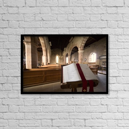 "Printscapes Wall Art: 18"" x 12"" Canvas Print With Black Frame - Church Sanctuary, Holy Island, Bewick, England by John Short"
