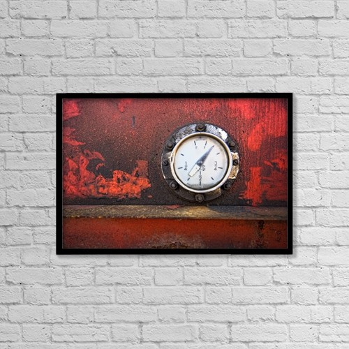 "Printscapes Wall Art: 18"" x 12"" Canvas Print With Black Frame - Gas Gauge by John Short"