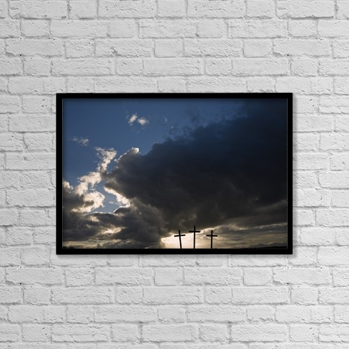 """Printscapes Wall Art: 18"""" x 12"""" Canvas Print With Black Frame - Three Crosses, West Yorkshire, England by John Short"""