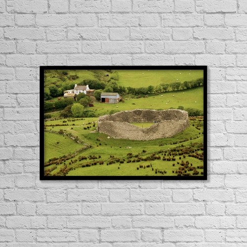 "Printscapes Wall Art: 18"" x 12"" Canvas Print With Black Frame - Staigue Fort, Kerry by Richard Cummins"