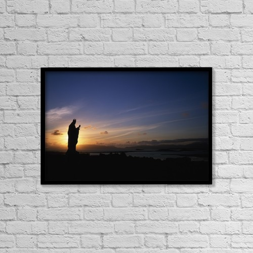 """Printscapes Wall Art: 18"""" x 12"""" Canvas Print With Black Frame - Sculpture Of St by The Irish Image Collection"""