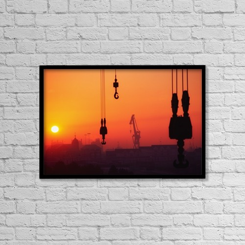 "Printscapes Wall Art: 18"" x 12"" Canvas Print With Black Frame - Cranes At Sunset by The Irish Image Collection"