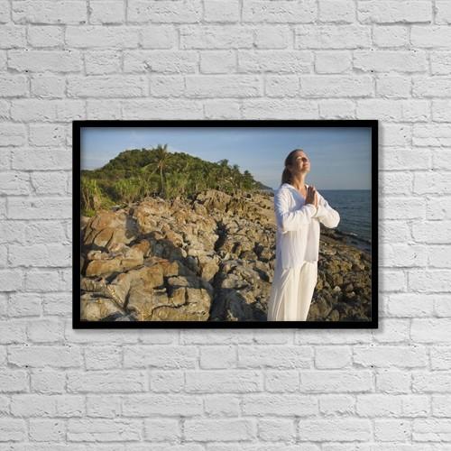 "Printscapes Wall Art: 18"" x 12"" Canvas Print With Black Frame - A Woman Meditating; Koh Lanta, Thailand by Sean White"