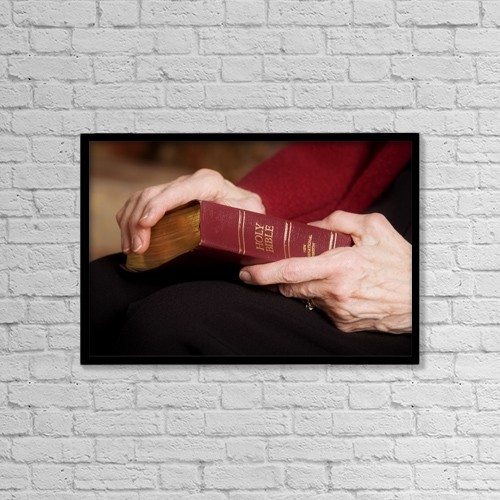 "Printscapes Wall Art: 18"" x 12"" Canvas Print With Black Frame - Woman Holding A Bible by Steve Nagy"