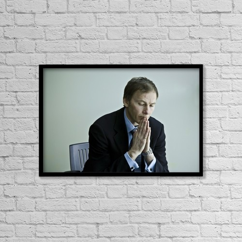 "Printscapes Wall Art: 18"" x 12"" Canvas Print With Black Frame - Businessman Sitting And Thinking by Con Tanasiuk"