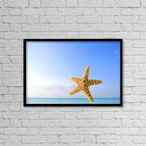 "Printscapes Wall Art: 18"" x 12"" Canvas Print With Black Frame - Starfish In Front Of The Ocean by Richard Wear"