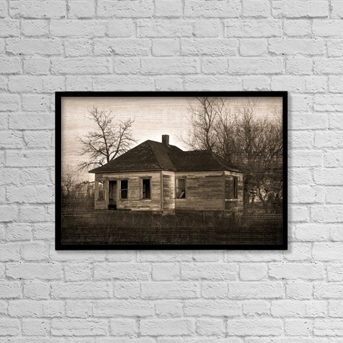 """Printscapes Wall Art: 18"""" x 12"""" Canvas Print With Black Frame - Abandoned Farm House by Richard Wear"""
