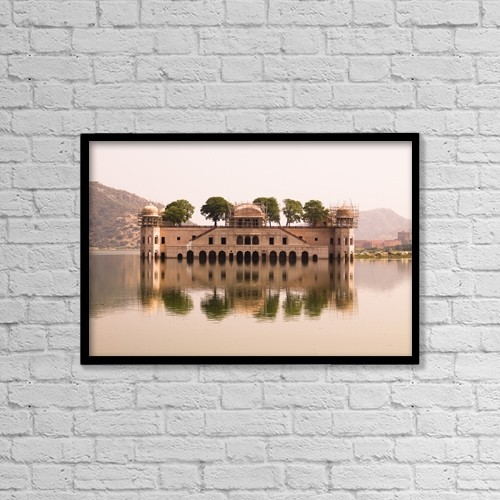 "Printscapes Wall Art: 18"" x 12"" Canvas Print With Black Frame - Waterfront Building, Jaipur, India by Keith Levit"