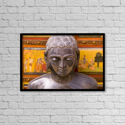 """Printscapes Wall Art: 18"""" x 12"""" Canvas Print With Black Frame - Statue, Jaipur, India by Keith Levit"""