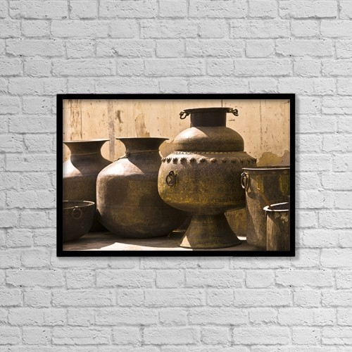 """Printscapes Wall Art: 18"""" x 12"""" Canvas Print With Black Frame - Hand Crafted Jugs, Jaipur, India by Keith Levit"""