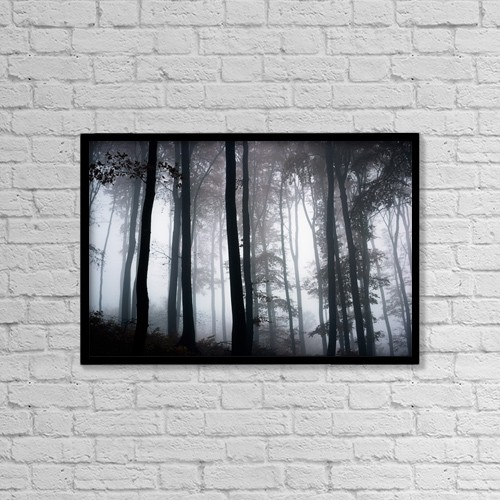 "Printscapes Wall Art: 18"" x 12"" Canvas Print With Black Frame - Foggy Woods; Ireland by The Irish Image Collection"