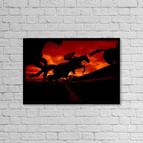 "Printscapes Wall Art: 18"" x 12"" Canvas Print With Black Frame - National Hunt, Ireland by The Irish Image Collection"