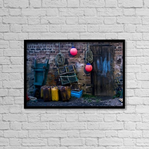 "Printscapes Wall Art: 18"" x 12"" Canvas Print With Black Frame - Fisherman's Supplies by John Short"