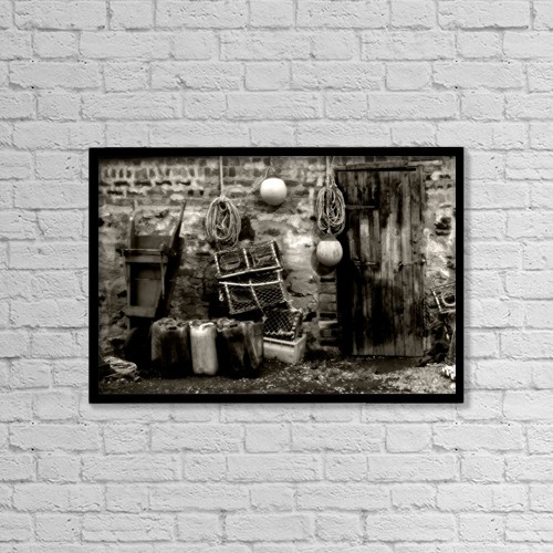 "Printscapes Wall Art: 18"" x 12"" Canvas Print With Black Frame - Fishing Hut And Supplies by John Short"