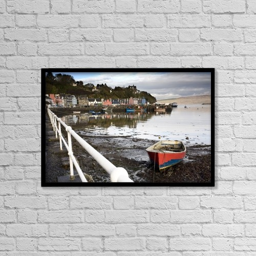 "Printscapes Wall Art: 18"" x 12"" Canvas Print With Black Frame - Tobermory, Isle Of Mull, Scotland by John Short"