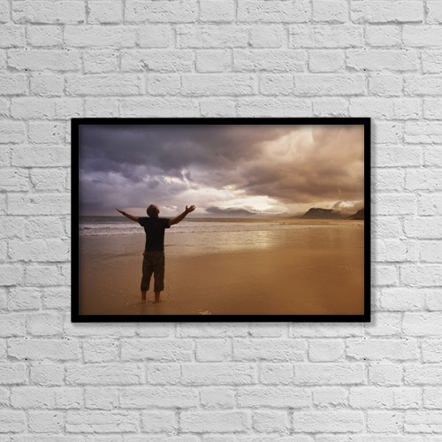 "Printscapes Wall Art: 18"" x 12"" Canvas Print With Black Frame - Worship On A Beach by Kristy-Anne Glubish"