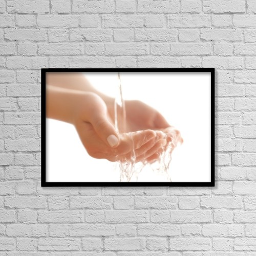 "Printscapes Wall Art: 18"" x 12"" Canvas Print With Black Frame - Water In Hands by Chris and Kate Knorr"