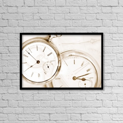 "Printscapes Wall Art: 18"" x 12"" Canvas Print With Black Frame - Two Clocks by Chris and Kate Knorr"