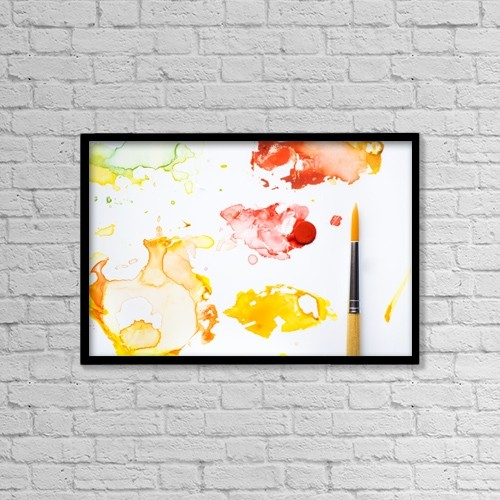 "Printscapes Wall Art: 18"" x 12"" Canvas Print With Black Frame - Paint Splatters And Paint Brush by Chris and Kate Knorr"