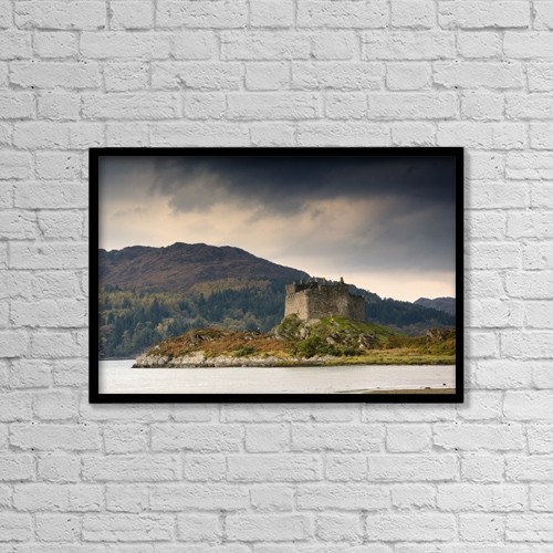 "Printscapes Wall Art: 18"" x 12"" Canvas Print With Black Frame - Castle Tioram, Scotland by John Short"