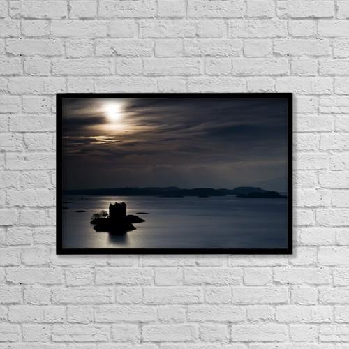 "Printscapes Wall Art: 18"" x 12"" Canvas Print With Black Frame - Castle Stalker, Scotland by John Short"