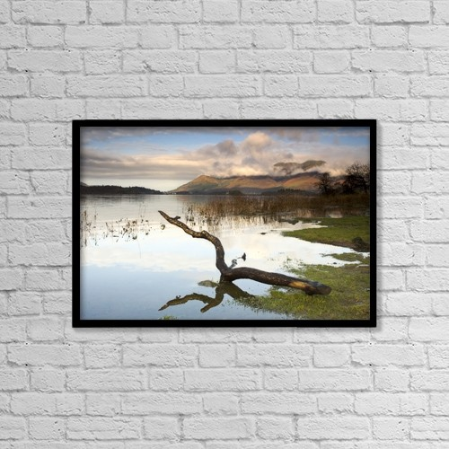 "Printscapes Wall Art: 18"" x 12"" Canvas Print With Black Frame - Lake Derwent, Cumbria, England by John Short"
