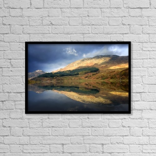 "Printscapes Wall Art: 18"" x 12"" Canvas Print With Black Frame - Loch Lobhair, Scotland by John Short"