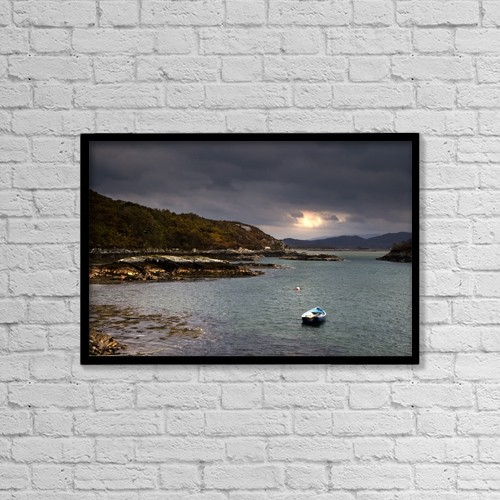 "Printscapes Wall Art: 18"" x 12"" Canvas Print With Black Frame - Boat In Water, Loch Sunart, Scotland by John Short"