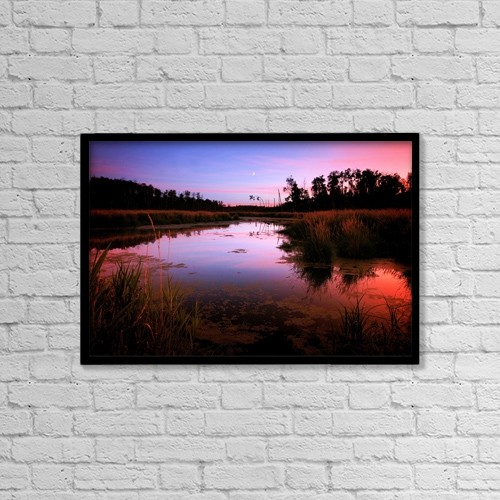 """Printscapes Wall Art: 18"""" x 12"""" Canvas Print With Black Frame - Sunset Over River by Richard Wear"""