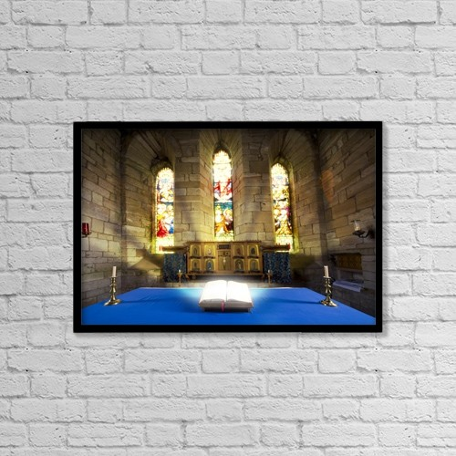 "Printscapes Wall Art: 18"" x 12"" Canvas Print With Black Frame - Bible In Church by John Short"