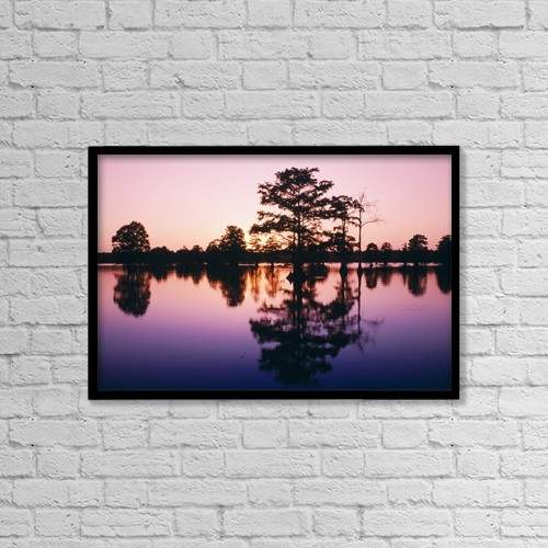"Printscapes Wall Art: 18"" x 12"" Canvas Print With Black Frame - Horseshoe Lake At Dusk by Bilderbuch"