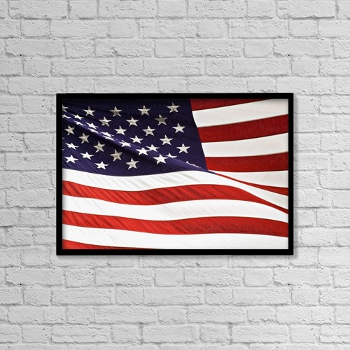 "Printscapes Wall Art: 18"" x 12"" Canvas Print With Black Frame - American Flag by Chris and Kate Knorr"