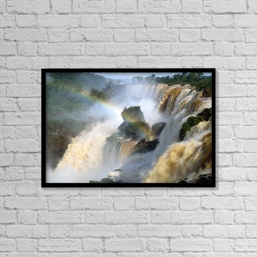 "Printscapes Wall Art: 18"" x 12"" Canvas Print With Black Frame - Brazil, Iguacu Falls by The Irish Image Collection"