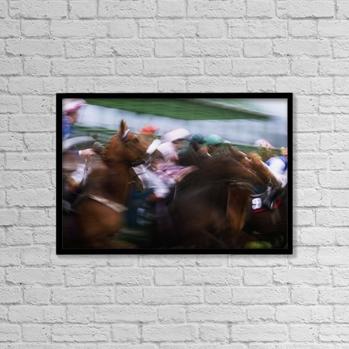 """Printscapes Wall Art: 18"""" x 12"""" Canvas Print With Black Frame - Horse Racing by The Irish Image Collection"""