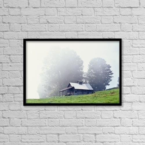"Printscapes Wall Art: 18"" x 12"" Canvas Print With Black Frame - House Near Peacham, Vermont, Usa by Bilderbuch"