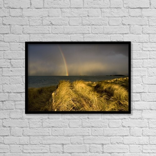 "Printscapes Wall Art: 18"" x 12"" Canvas Print With Black Frame - Clew Bay, County Mayo, Ireland by Peter McCabe"