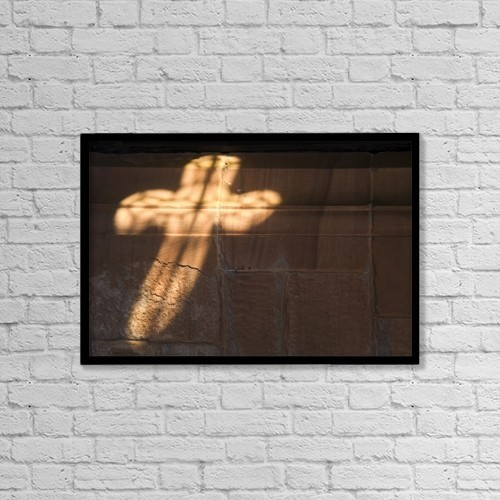 """Printscapes Wall Art: 18"""" x 12"""" Canvas Print With Black Frame - Light In Cross Shape On Wall by John Short"""