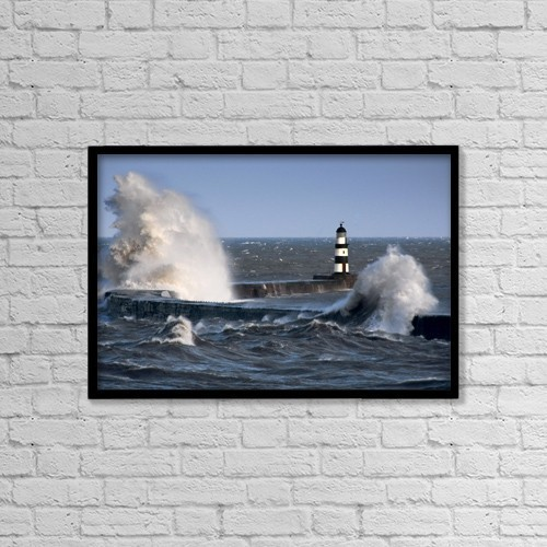 "Printscapes Wall Art: 18"" x 12"" Canvas Print With Black Frame - Lighthouse, Seaham, England by John Short"