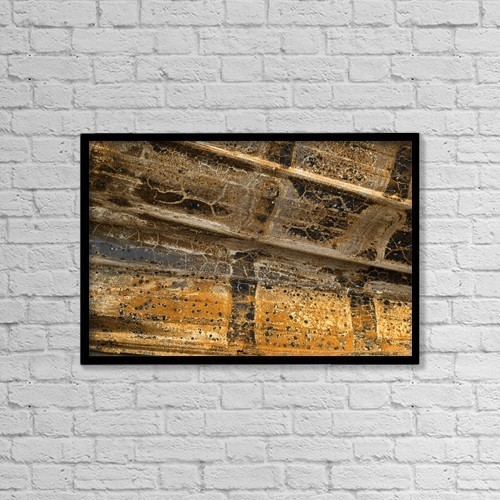 "Printscapes Wall Art: 18"" x 12"" Canvas Print With Black Frame - Detail Of Burnt Building by David Chapman"