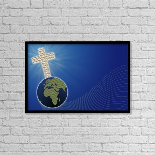 """Printscapes Wall Art: 18"""" x 12"""" Canvas Print With Black Frame - Cross On The World by Colette Scharf"""