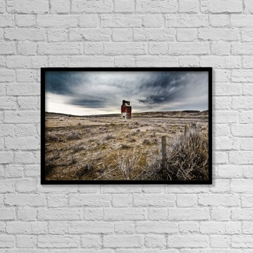 "Printscapes Wall Art: 18"" x 12"" Canvas Print With Black Frame - Old Grain Elevator, Dorothy, Alberta, Canada by Steve Nagy"