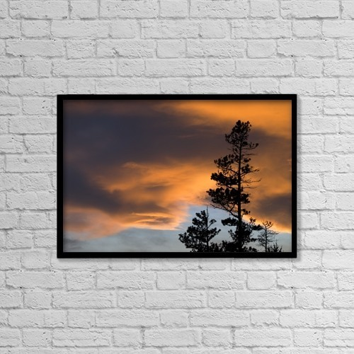 """Printscapes Wall Art: 18"""" x 12"""" Canvas Print With Black Frame - Silhouetted Tree At Sunset by Philippe Widling"""